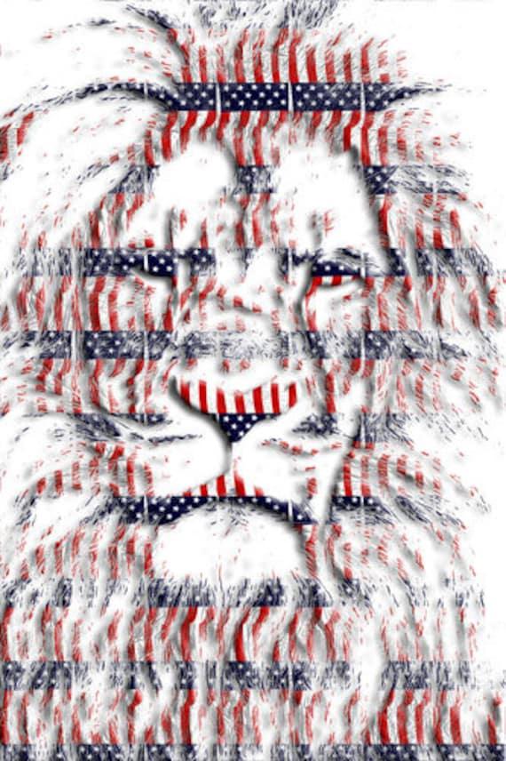 patriotic lion Animal stars stripes USA abstract Print Americana 4th of july Wall Art home decor Printable art Gift Digital Download
