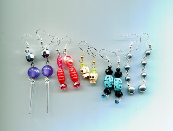 bead drop dangle earrings lot 5 pairs long dangles wholesale handmade jewelry lot red blue purple