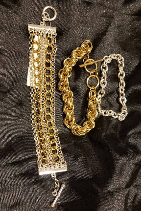 3 chain bracelets lot gold silver metal unisex mens womens wholesale jewelry
