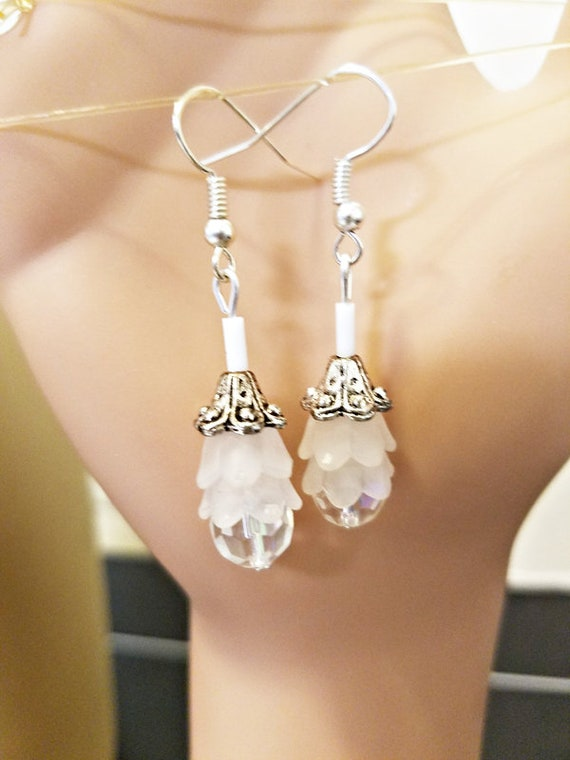 crystal glass bead drop earrings long dangles handmade wedding bride jewelry