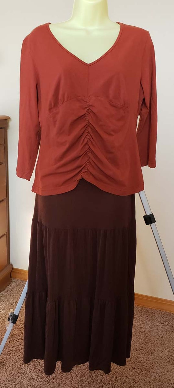 brown gypsy blouse long stretchy skirt clothes 2 pc lot womens size large vintage