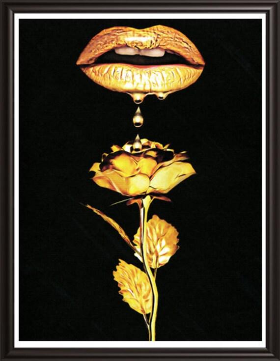 lips dripping liquid gold on rose lipstick original art print makeup fashion beauty modern provocative erotic artwork