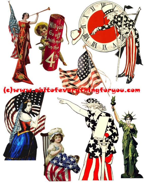 vintage 4th of july patriotic USA Flag art clipart digital download die cuts craft cut outs sheet graphics images printables