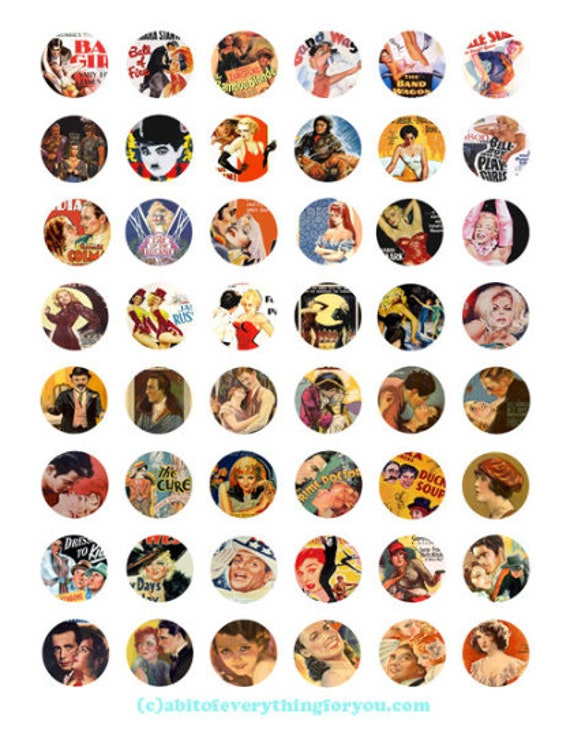 vintage movie posters collage sheet clipart digital download 1 inch inch circles graphics vintage images printables