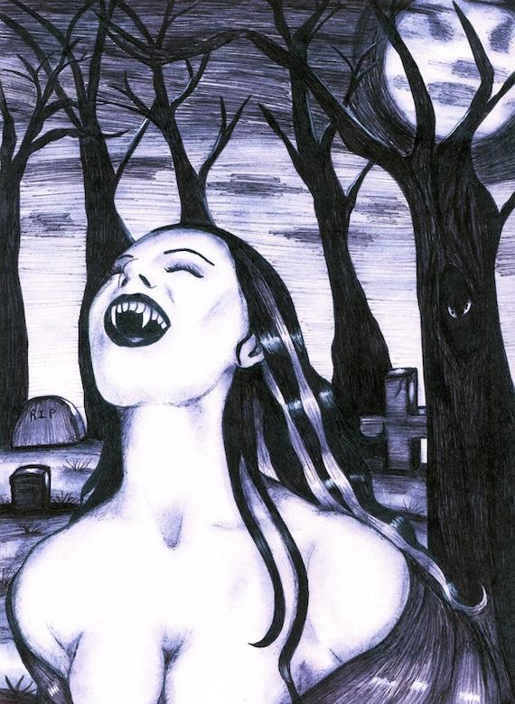 erotic vampire woman art print ink original drawing modern artwork goth sci fi full moon, trees, graveyard cemetery