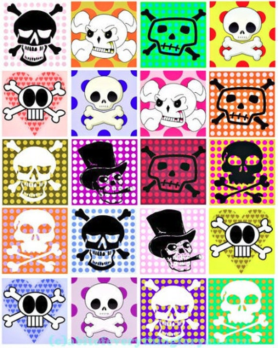 digital download collage sheet cartoon skulls polka dots day of the dead clipart 2 inch squares images printables diy pendant jewelry making