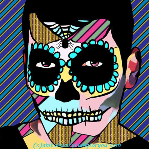 day of the dead sugar skull man abstract pop art printable original skeleton digital download graphics images downloadable los muertos