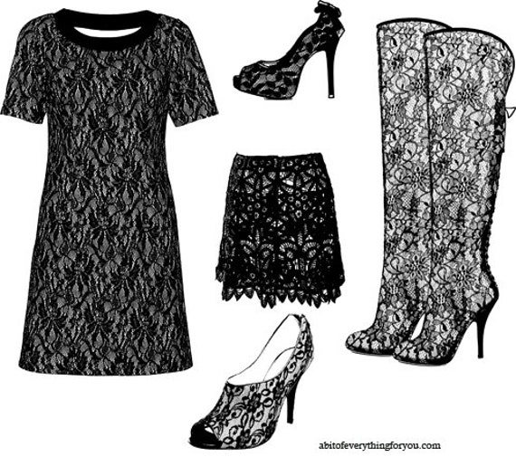 black lace printable goth fashion art clipart png downloadable wall art digital image graphics lace dress skirt high heels digital download