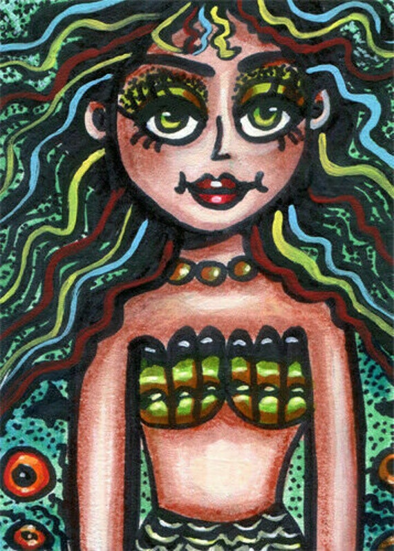 original aceo art mermaid fantasy drawing big eye abstract fairytale miniature artwork Elizavella