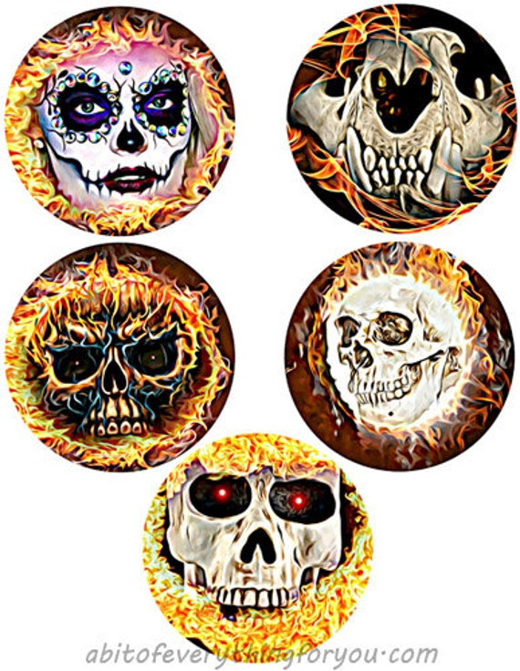 "skulls skeletons day of the dead flames fire collage sheet 3.8"" inch circles clipart digital downloadable printable images DIY crafts"