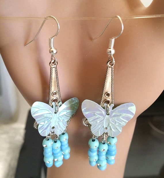 blue butterfly earrings chandelier dangle drops sequins beaded silver nature jewelry