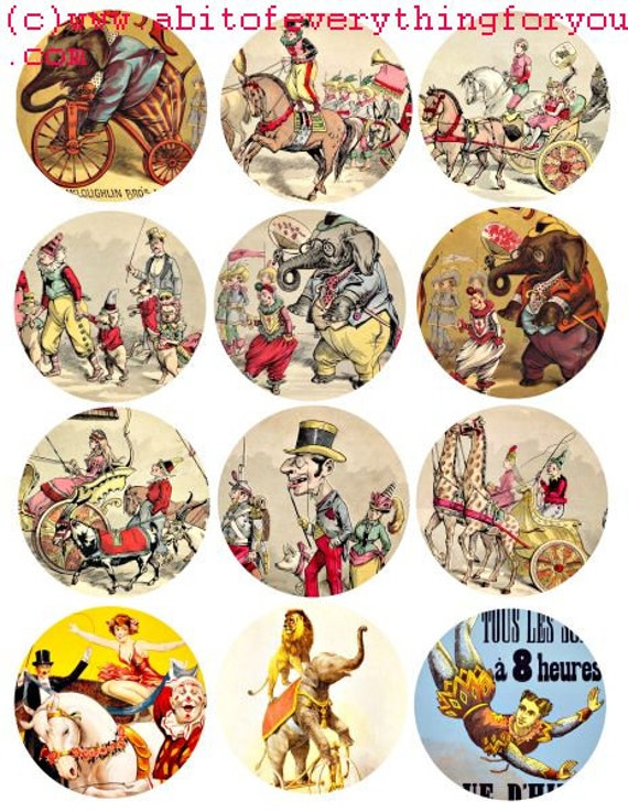 circus clowns animals carnival art clip art collage sheet 2.5 inch circles digital instant download vintage graphics images printables
