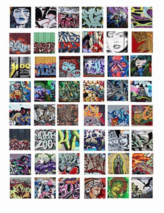 "digital Graffiti abstract art collage sheet 1"" inch squares pendants digital download graphics images printables pins magnets diy crafts"