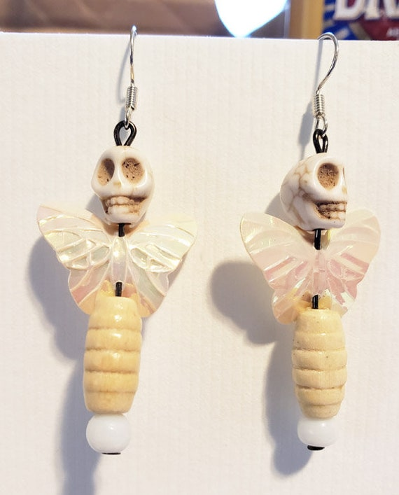 white sugar skull bead earrings day of the dead skull butterfly earrings handmade wedding bridal halloween