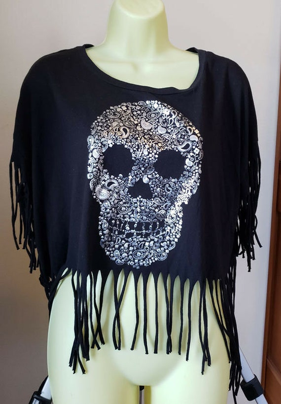 womens silver floral skull black fringe t shirt size XXL punk goth day of the dead clothing