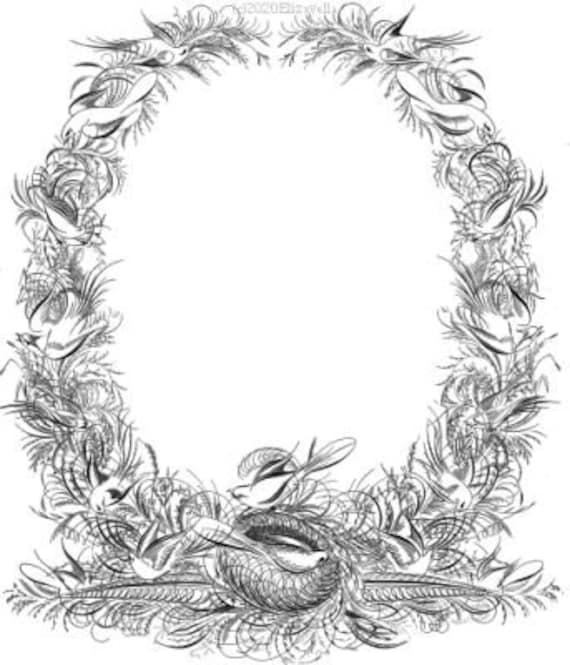 calligraphy bird frame original printable typography art print png clipart downloadable digital image graphics black white art diy crafts