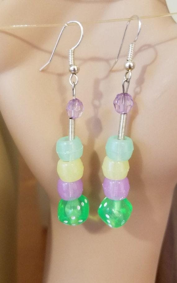 party jewelry glow in the dark earrings bead drops dice beads plastic beaded green yellow purple multicolor jewelry