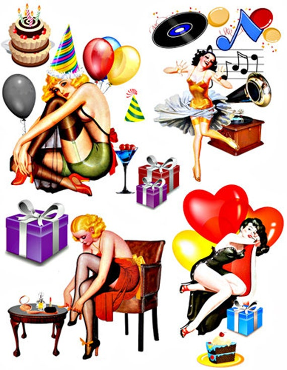 party pinup girls die cuts clipart digital instant download craft printables collage sheet images