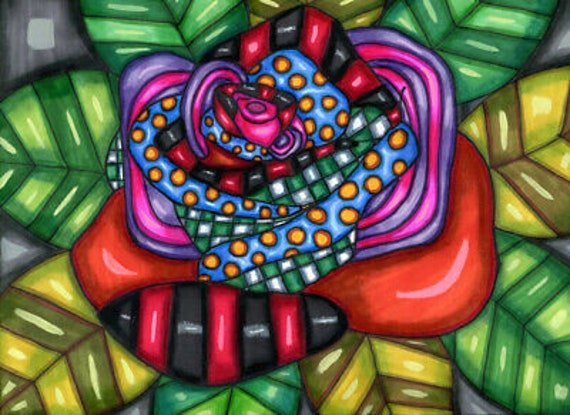 colorful Whimsical Rose abstract flower drawing original art modern Elizavella