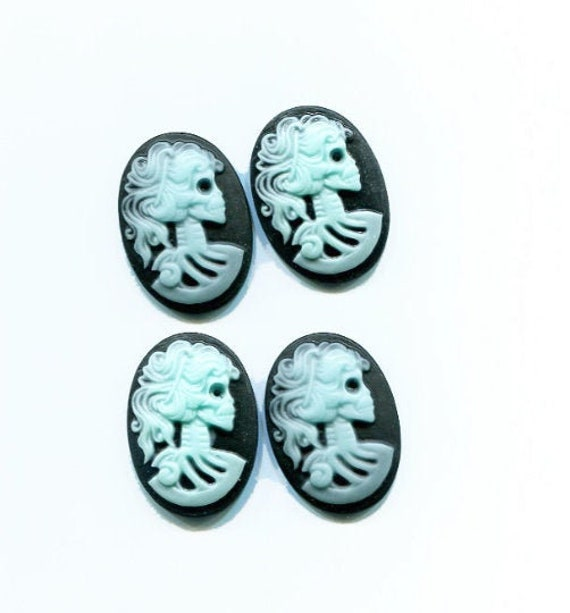 25mmx18mm skull cabochon skeleton lady Cameo plastic flat back oval cabs charms zombie gothic black and blue
