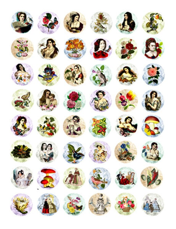 vintage victorian women spring nature flowers downloadable collage sheet 1 inch circles clipart digital download graphics images