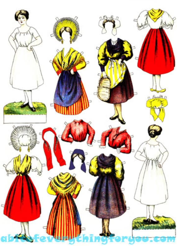 European woman paper doll & clothes printable die cuts clipart digital download craft cut outs miniatures graphics images scrapbooking