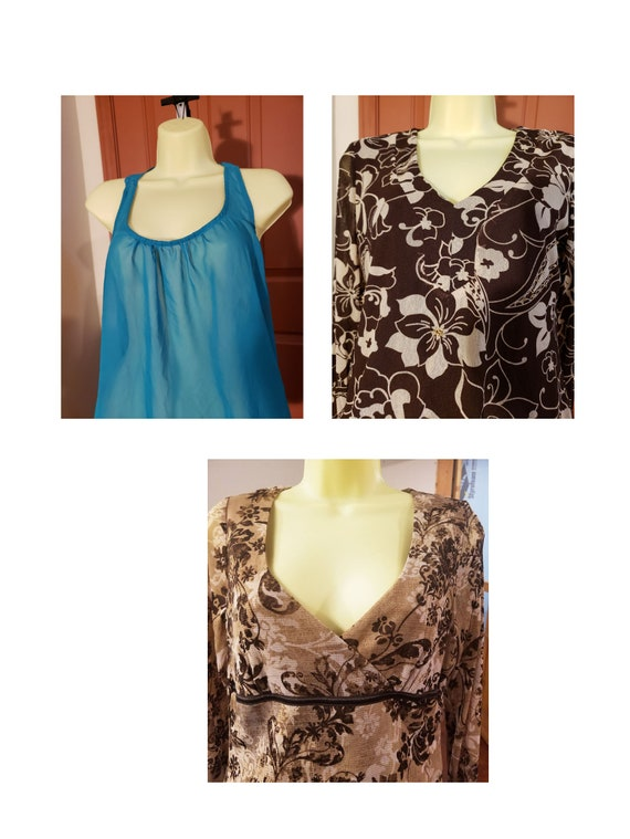 3 Size Medium womens sheer summer tops brown and teal long sleeve clothes lot late 90s clothes vintage