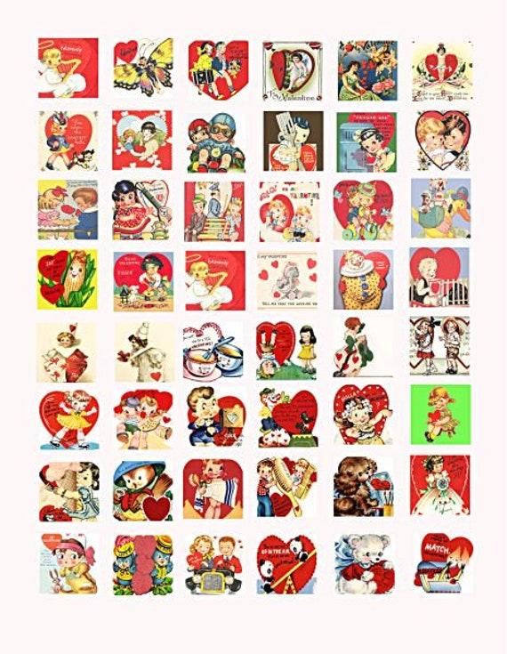 vintage Valentines cards clip art digital download collage sheet 1 inch squares graphics images printables for pendants pins magnets