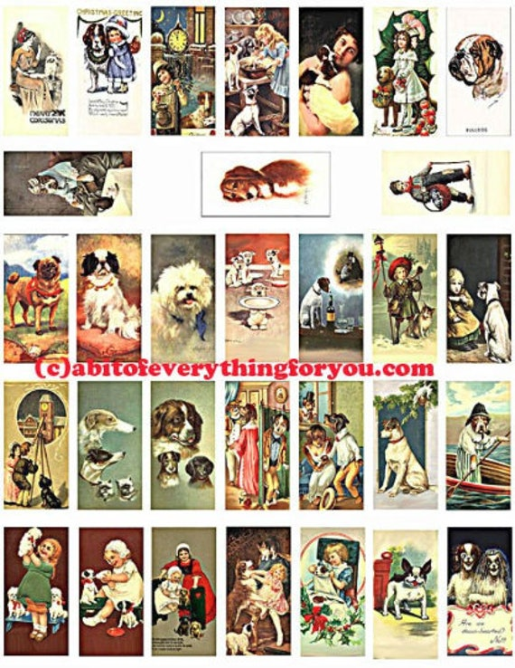 """puppy dogs vintage art postcards domino collage sheet 1"""" x 2"""" images clipart digital download  graphics pendant printables magnets pins"""
