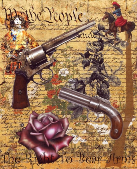 american constitution guns roses original digital art print cowboy art, country & western, right to bear arms, vintage ephemera, modern art