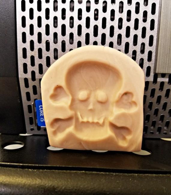"halloween skull cross bones polymer clay mold jewelry making pendant 1 1/4"" x 1 3/8""  gothic crafts skull molds"