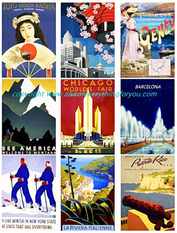 """vintage travel vacation posters clip art collage sheet 2.5"""" x 3.5"""" inch graphics images digital download craft printables"""