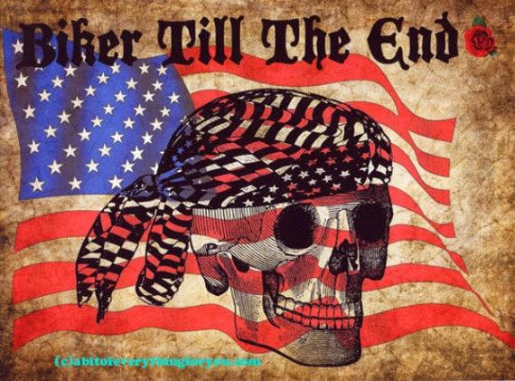 biker skull american flag digital original art print, motorcycle art, doo rag original skeleton artwork, modern stars stripes