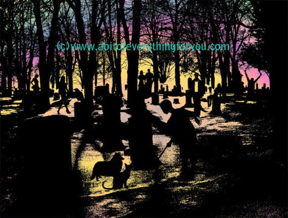 spirits ghosts undead graveyard cemetery original printable art print silhouette art digital download graphics images spooky scary art