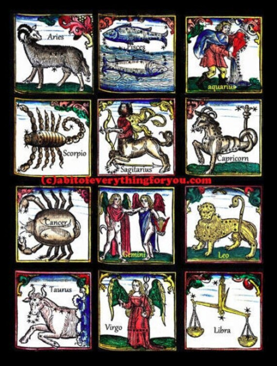 zodiac signs horoscope art print celestial astrology star signs 12 zodiac signs birth signs art collage scorpio taurus pisces leo