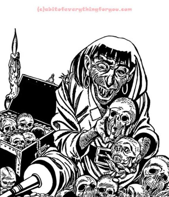 zombie pirate treasure chest horror comics printable coloring page art download black and white digital downloadable image graphics line art