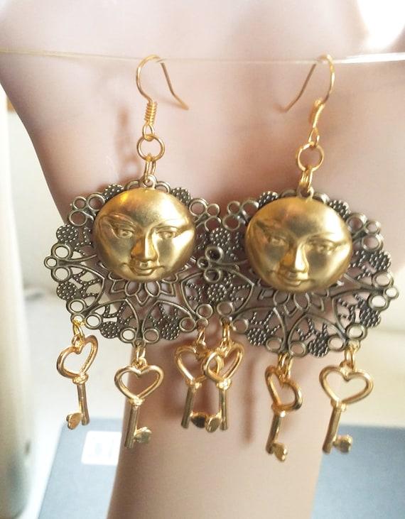 moon face chandelier earrings heart charms dangle steampunk bronze gold handmade celestial jewelry