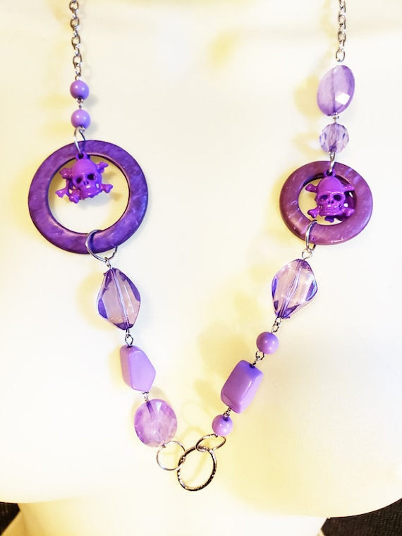 Purple beaded skull necklace plastic beads handmade jewelry