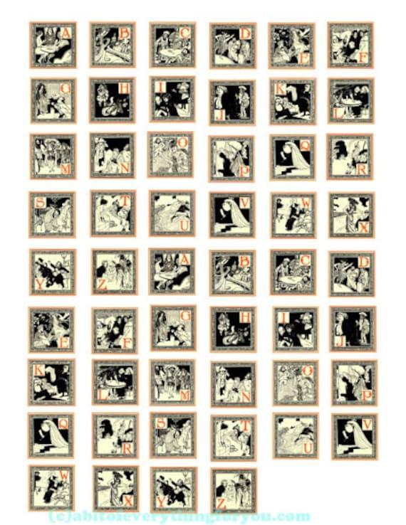 "vintage story book fairytale abc alphabet art clipart digital download collage sheet 1"" inch squares graphics images pendant printables"