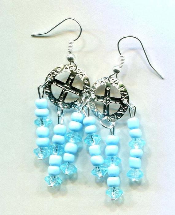 cross circle blue bead earrings chandelier drops handmade jewelry