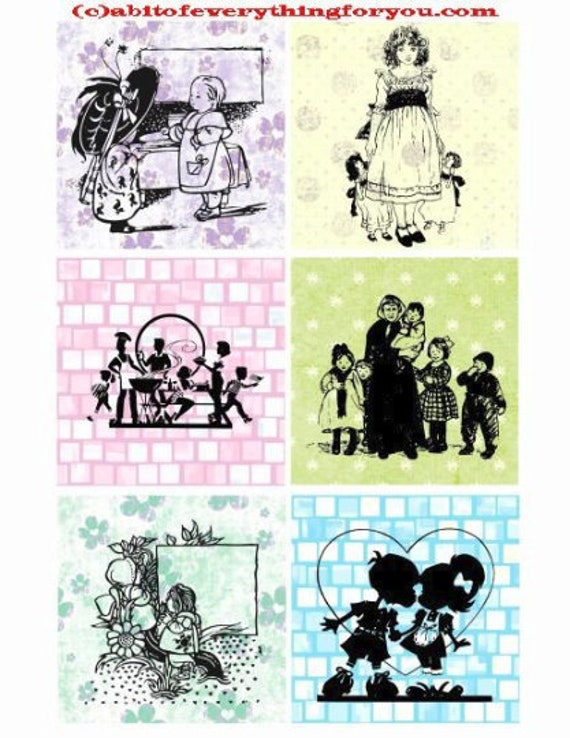 "children silhouettes pastel patterns collage sheet 3.4"" inch squares images clip art digital downloadable graphics images diy crafts cards"