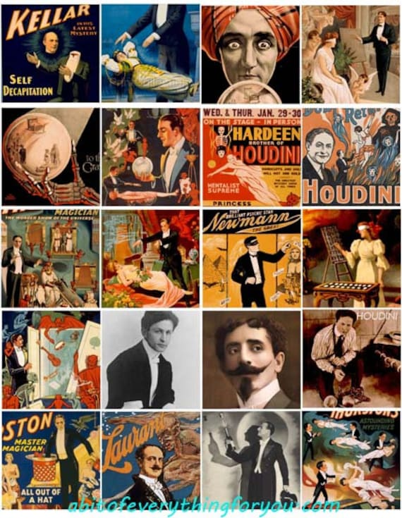 "vintage magicians magic show collage sheet digital download 2"" inch squares graphics downloadable images theater photos printables"