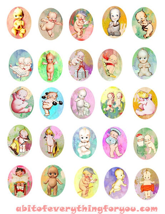kewpie dolls art clipart digital download collage sheet 30mm x 40mm ovals graphics vintage downloadable images pendant jewelry printables
