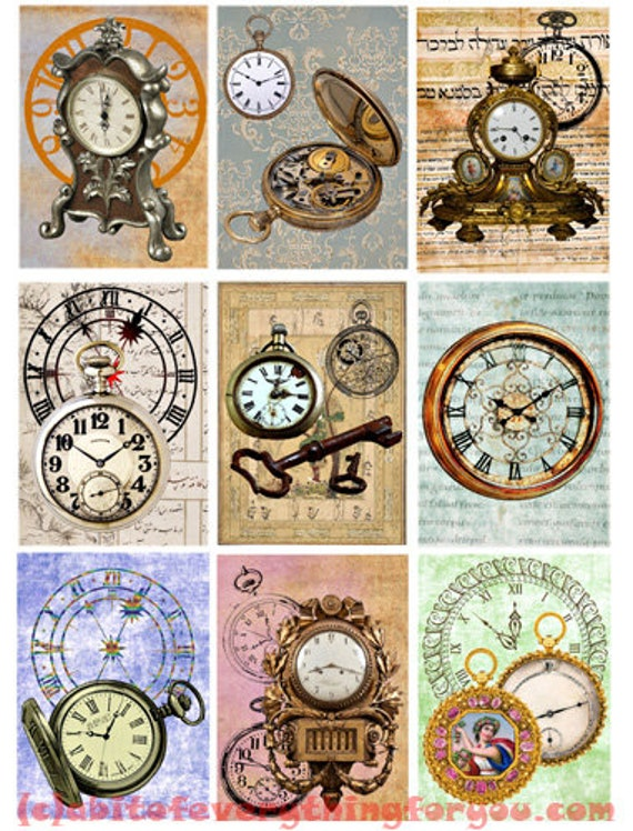 "antique Clocks pocket watches  art collage sheet digital download 2.5"" x 3.5"" graphics downloadable images vintage craft printables"