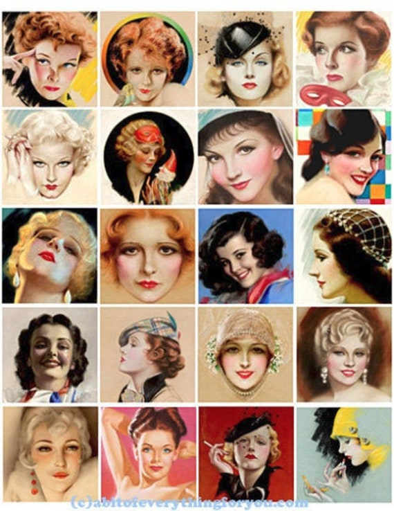 1920s to 1940s pinup girls faces woman collage sheet 2 inch squares clipart digital download graphics images downloadable pendants DIY