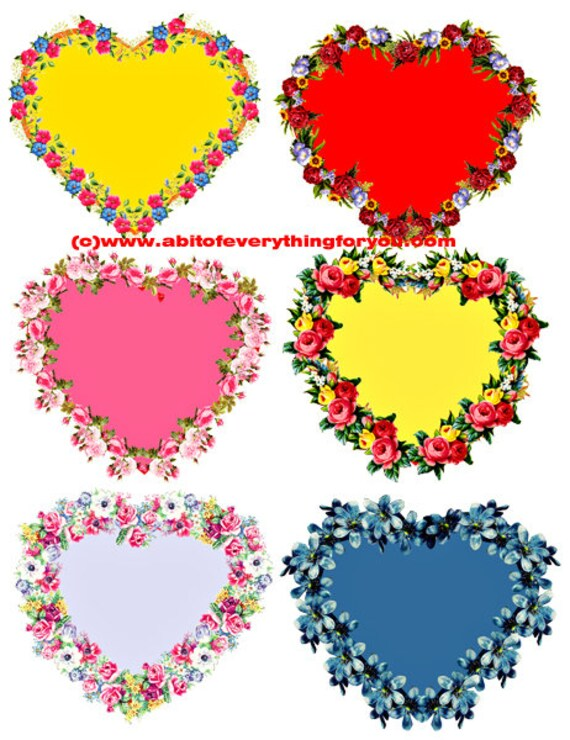 floral flower hearts die cuts cut out craft printables clipart digital download graphics images scrapbooking cards tags