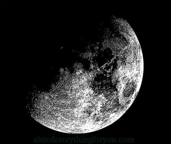 half moon printable art clipart png Digital Download Image graphics space astronomy artwork black and white
