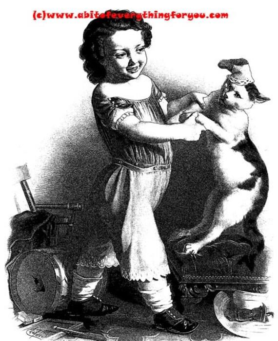 little girl dancing with cat printable art print vintage illustration digital download large image graphics black and white art