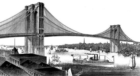queensboro bridge abstract ink style printable seascape art download digital vintage image graphics boats ships ocean nautical
