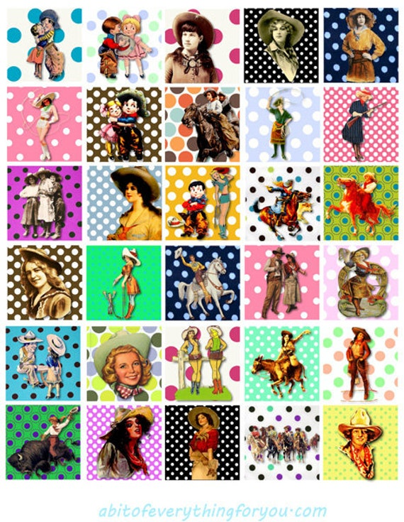 cowgirls cowboys country western art collage sheet 1.5 inch squares polka dots clipart digital downloadable rodeo horses printable images